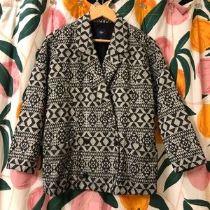 Gap Aztec print woven blazer black grey medium